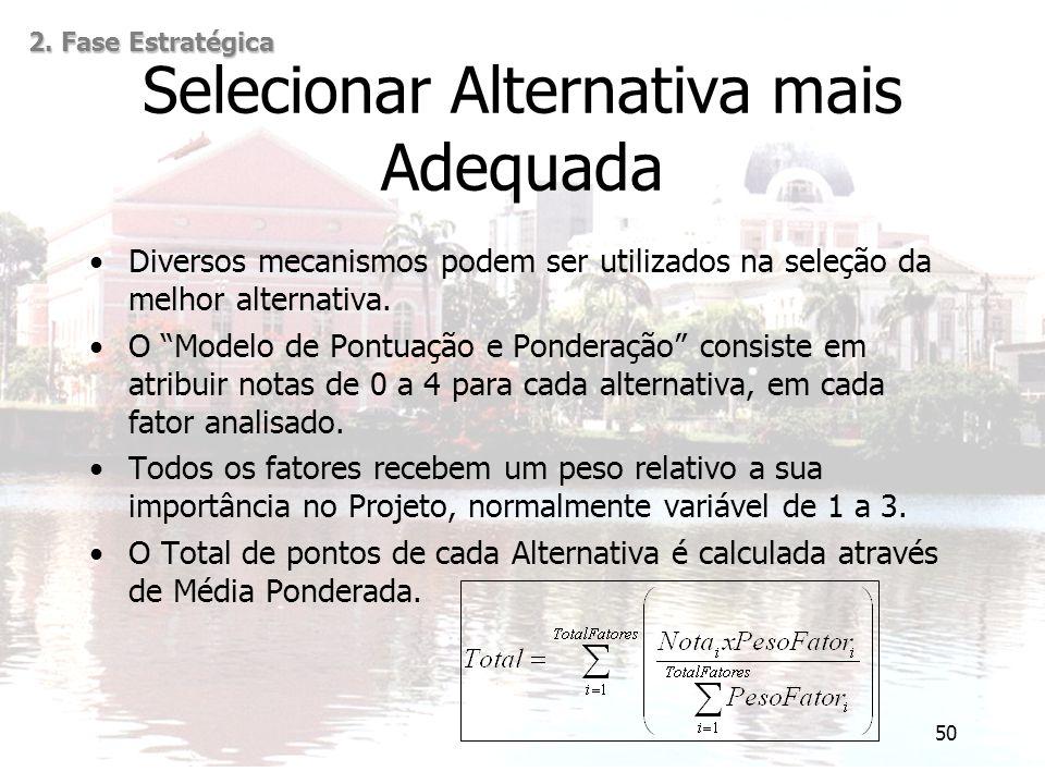 """50 Selecionar Alternativa mais Adequada 2. Fase Estratégica Diversos mecanismos podem ser utilizados na seleção da melhor alternativa. O """"Modelo de Po"""