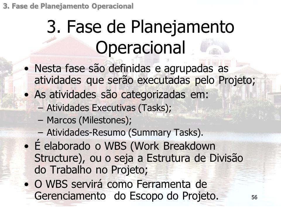 56 3. Fase de Planejamento Operacional Nesta fase são definidas e agrupadas as atividades que serão executadas pelo Projeto; As atividades são categor
