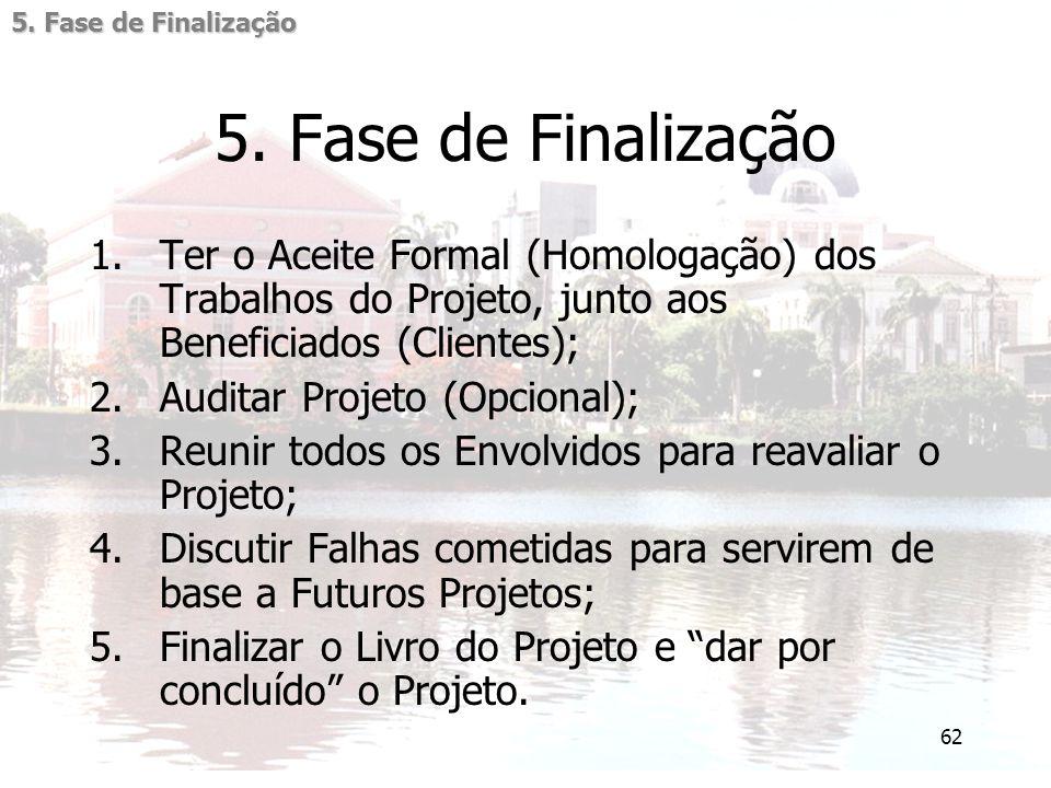 62 5. Fase de Finalização 1.Ter o Aceite Formal (Homologação) dos Trabalhos do Projeto, junto aos Beneficiados (Clientes); 2.Auditar Projeto (Opcional