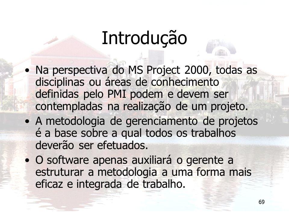 69 Introdução Na perspectiva do MS Project 2000, todas as disciplinas ou áreas de conhecimento definidas pelo PMI podem e devem ser contempladas na re
