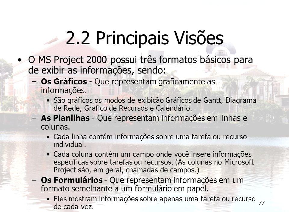 77 2.2 Principais Visões O MS Project 2000 possui três formatos básicos para de exibir as informações, sendo: –Os Gráficos - Que representam graficamente as informações.