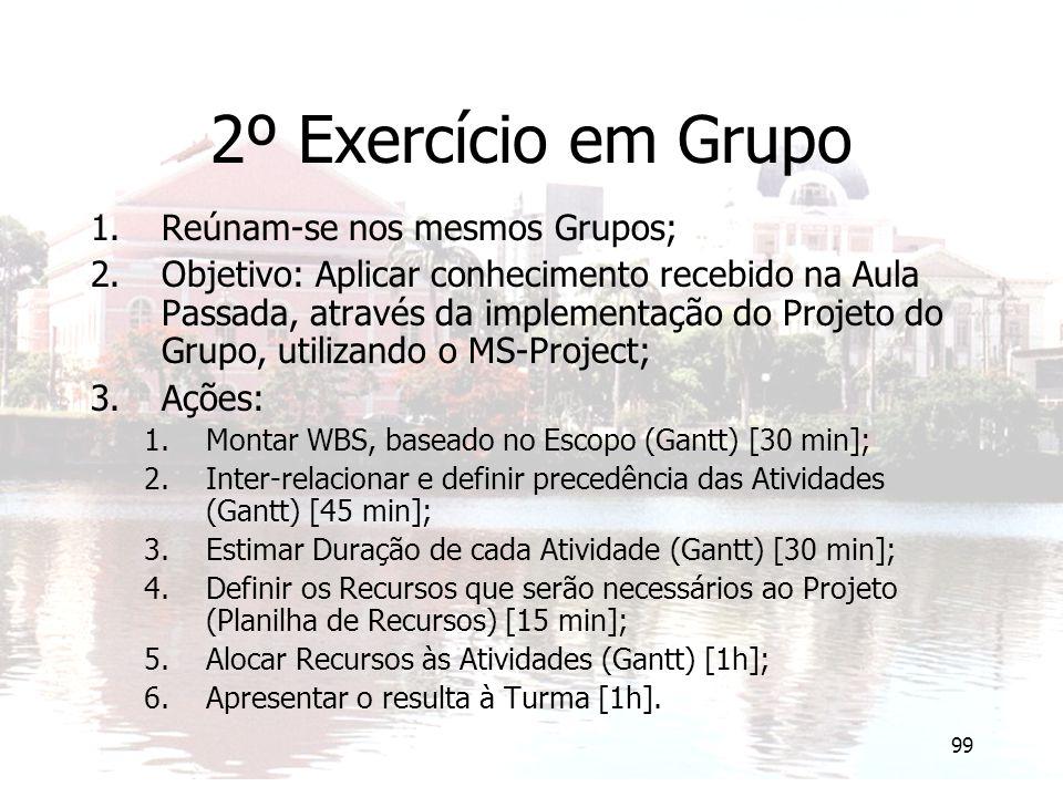 99 2º Exercício em Grupo 1.Reúnam-se nos mesmos Grupos; 2.Objetivo: Aplicar conhecimento recebido na Aula Passada, através da implementação do Projeto do Grupo, utilizando o MS-Project; 3.Ações: 1.Montar WBS, baseado no Escopo (Gantt) [30 min]; 2.Inter-relacionar e definir precedência das Atividades (Gantt) [45 min]; 3.Estimar Duração de cada Atividade (Gantt) [30 min]; 4.Definir os Recursos que serão necessários ao Projeto (Planilha de Recursos) [15 min]; 5.Alocar Recursos às Atividades (Gantt) [1h]; 6.Apresentar o resulta à Turma [1h].