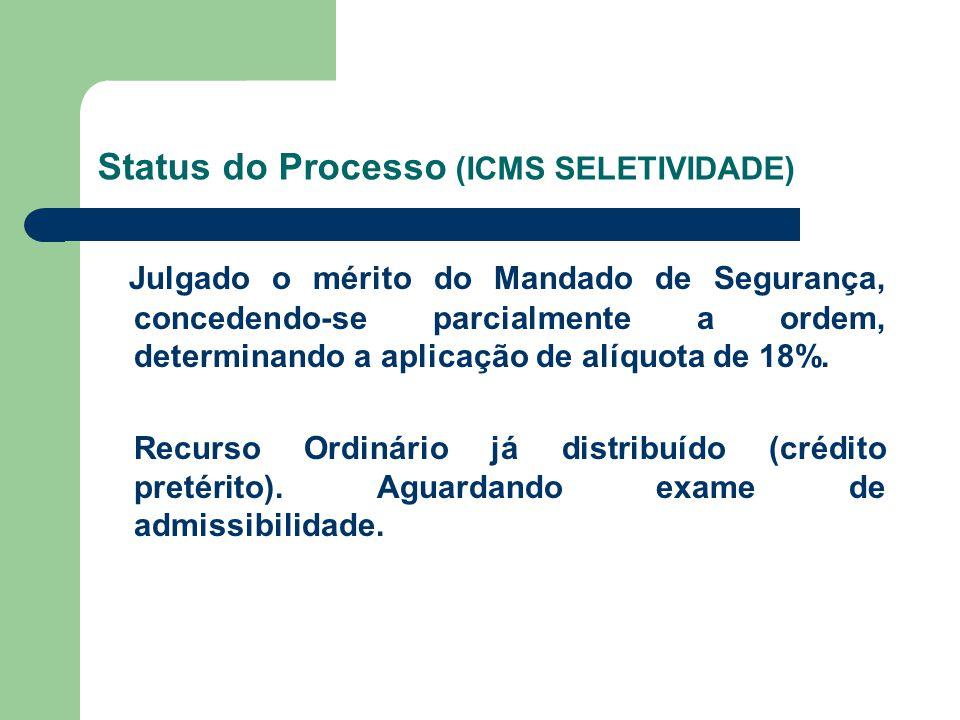 Status do Processo (ICMS SELETIVIDADE) Julgado o mérito do Mandado de Segurança, concedendo-se parcialmente a ordem, determinando a aplicação de alíqu