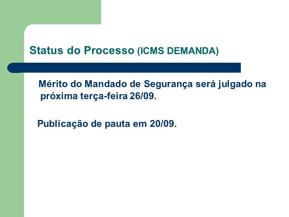 Status do Processo (ICMS DEMANDA) Mérito do Mandado de Segurança será julgado na próxima terça-feira 26/09. Publicação de pauta em 20/09.