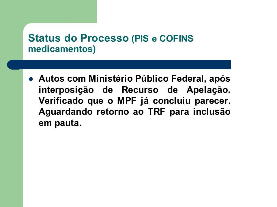 Status do Processo (PIS e COFINS medicamentos) Autos com Ministério Público Federal, após interposição de Recurso de Apelação. Verificado que o MPF já