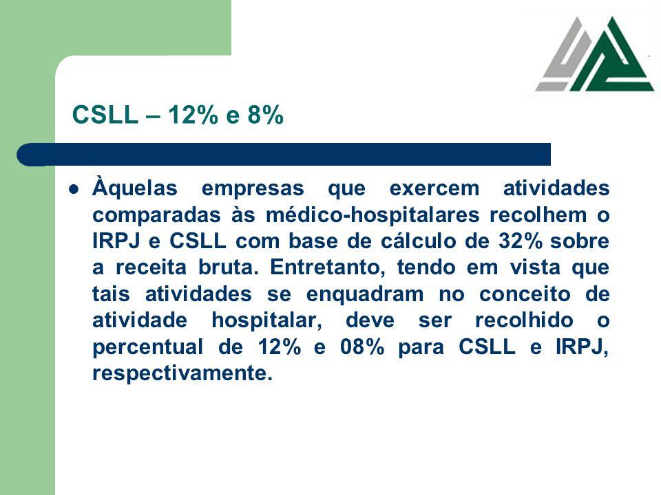 CSLL – 12% e 8% Àquelas empresas que exercem atividades comparadas às médico-hospitalares recolhem o IRPJ e CSLL com base de cálculo de 32% sobre a re