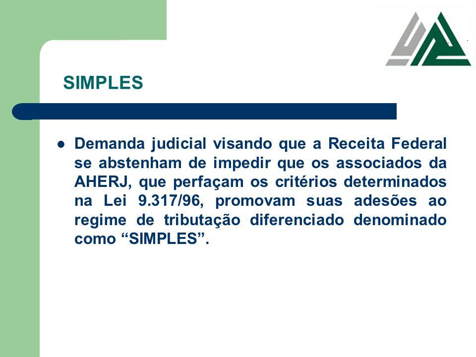 SIMPLES Demanda judicial visando que a Receita Federal se abstenham de impedir que os associados da AHERJ, que perfaçam os critérios determinados na L