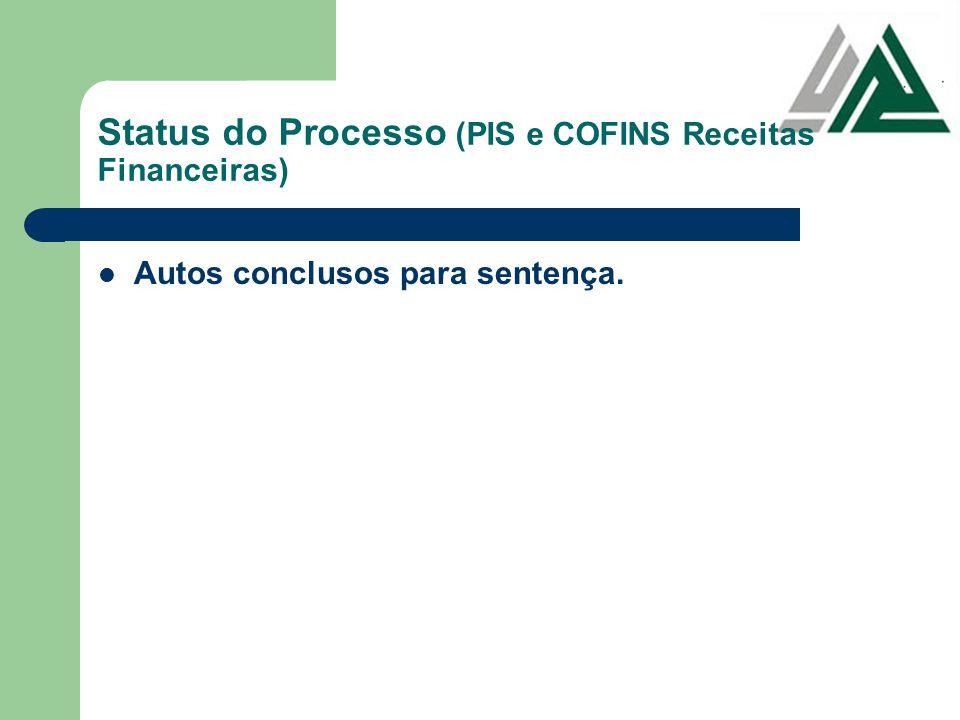 Status do Processo (PIS e COFINS Receitas Financeiras) Autos conclusos para sentença.