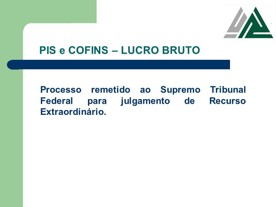 PIS e COFINS – LUCRO BRUTO Processo remetido ao Supremo Tribunal Federal para julgamento de Recurso Extraordinário.