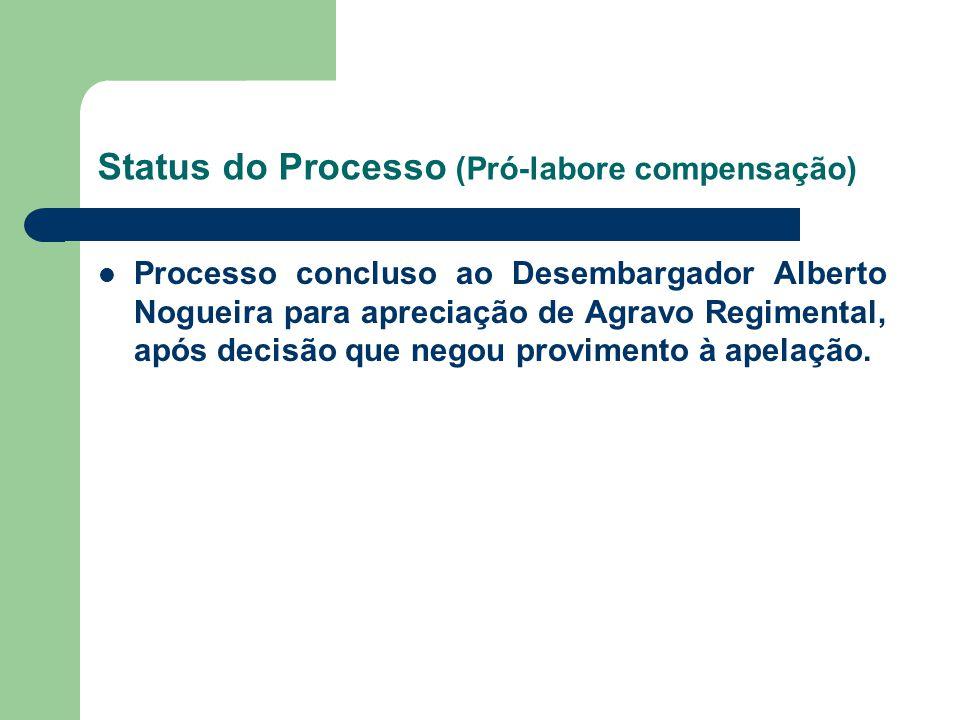 Status do Processo (Pró-labore compensação) Processo concluso ao Desembargador Alberto Nogueira para apreciação de Agravo Regimental, após decisão que