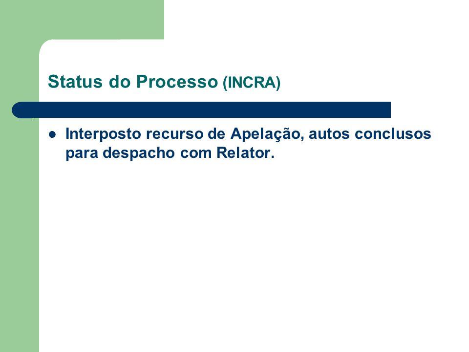Status do Processo (INCRA) Interposto recurso de Apelação, autos conclusos para despacho com Relator.