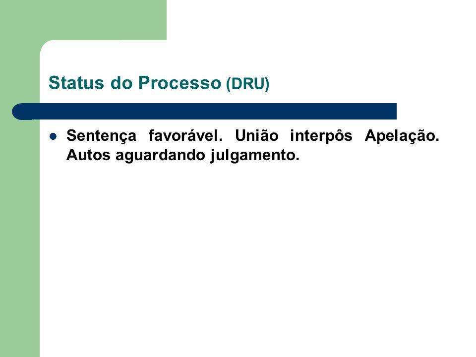 Status do Processo (DRU) Sentença favorável. União interpôs Apelação. Autos aguardando julgamento.