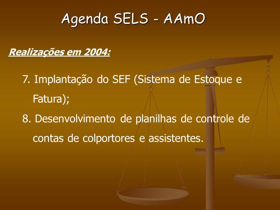 Agenda SELS - AAmO Realizações em 2004: 7. Implantação do SEF (Sistema de Estoque e Fatura); 8.
