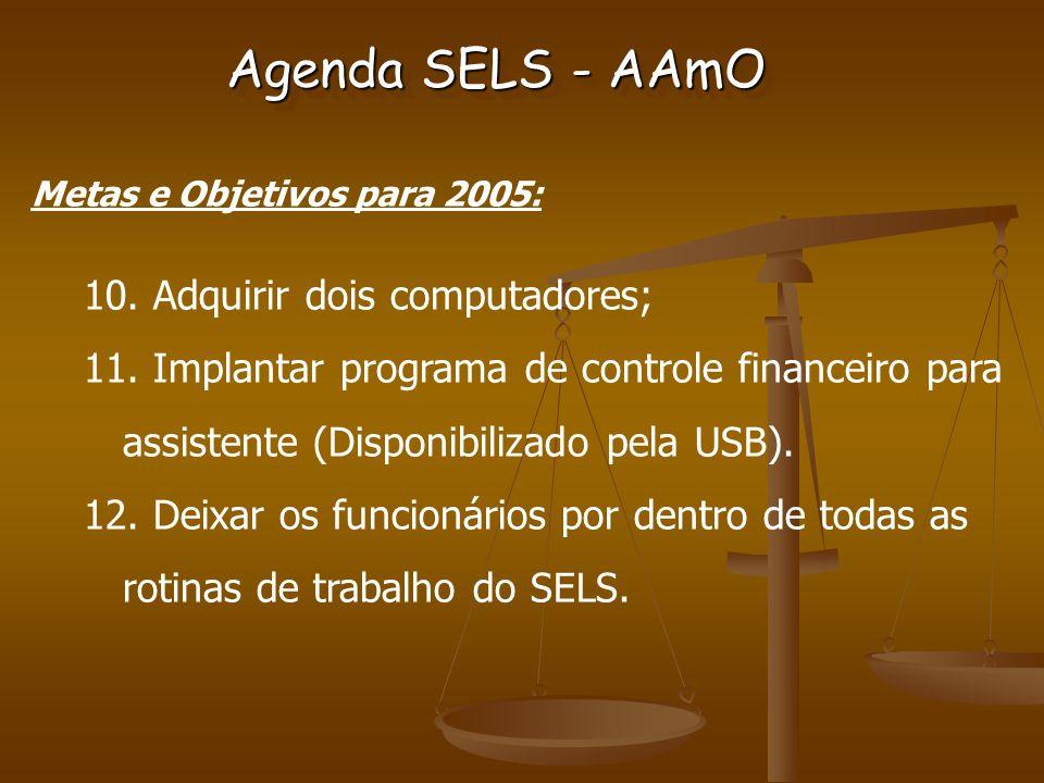 Metas e Objetivos para 2005: 10. Adquirir dois computadores; 11.