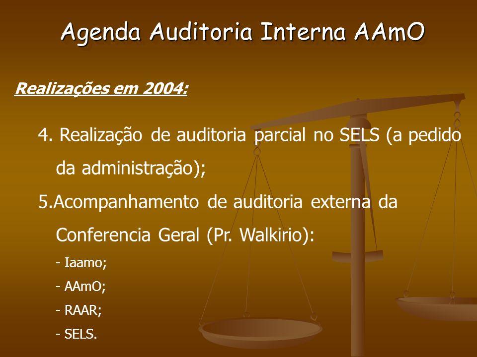 Agenda Auditoria Interna AAmO Realizações em 2004: 4.