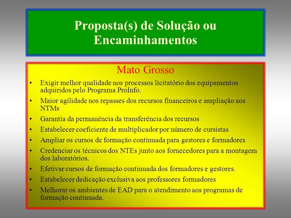 Proposta(s) de Solução ou Encaminhamentos Mato Grosso Exigir melhor qualidade nos processos licitatório dos equipamentos adquiridos pelo Programa ProInfo.