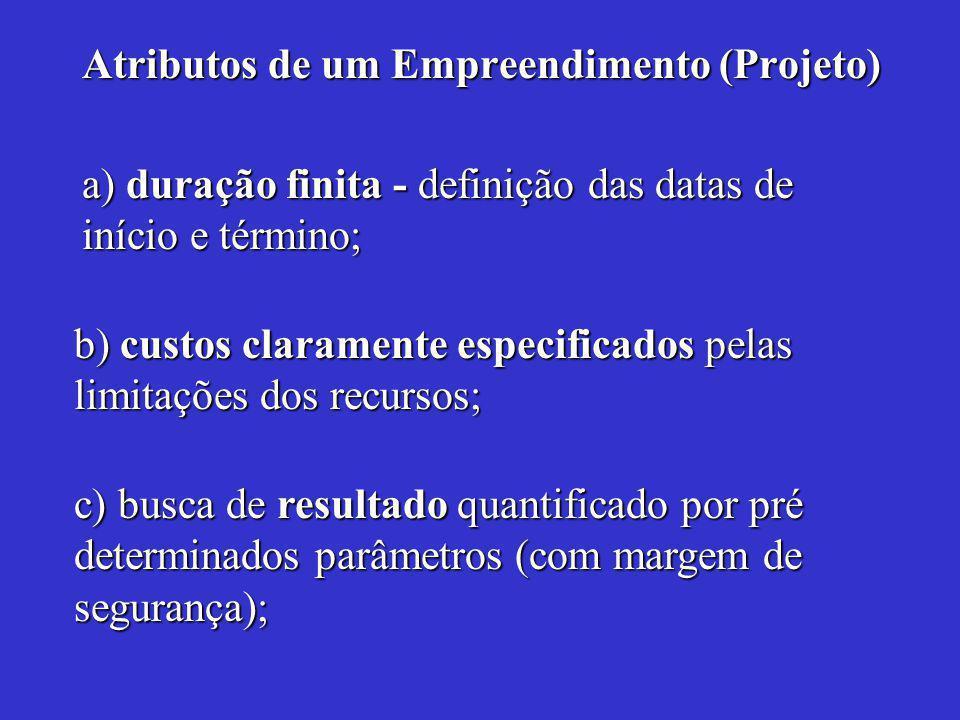 Atributos de um Empreendimento (Projeto) a) duração finita - definição das datas de início e término; b) custos claramente especificados pelas limitações dos recursos; c) busca de resultado quantificado por pré determinados parâmetros (com margem de segurança);