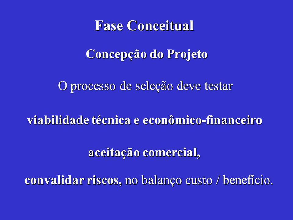 Concepção do Projeto O processo de seleção deve testar convalidar riscos, no balanço custo / benefício.