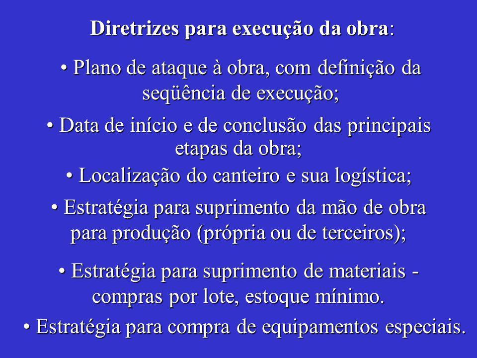 Data de início e de conclusão das principais etapas da obra; Data de início e de conclusão das principais etapas da obra; Estratégia para compra de equipamentos especiais.