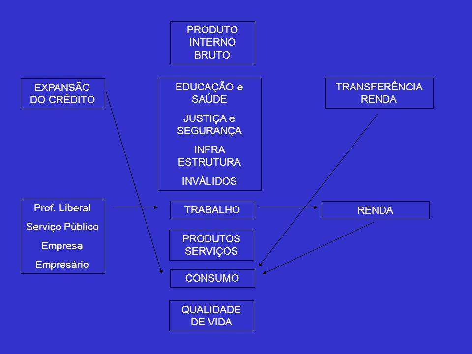 PRODUTO INTERNO BRUTO EXPANSÃO DO CRÉDITO EDUCAÇÃO e SAÚDE JUSTIÇA e SEGURANÇA INFRA ESTRUTURA INVÁLIDOS TRANSFERÊNCIA RENDA Prof.