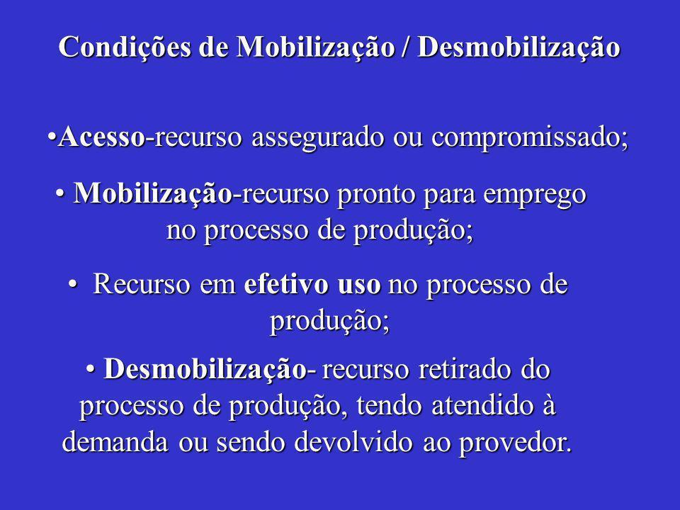 Recurso em efetivo uso no processo de produção;Recurso em efetivo uso no processo de produção; Desmobilização- recurso retirado do processo de produção, tendo atendido à demanda ou sendo devolvido ao provedor.