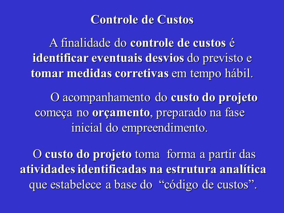 Controle de Custos O acompanhamento do custo do projeto começa no orçamento, preparado na fase inicial do empreendimento.
