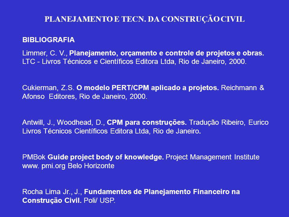 PLANEJAMENTO E TECN. DA CONSTRUÇÃO CIVIL BIBLIOGRAFIA Limmer, C.