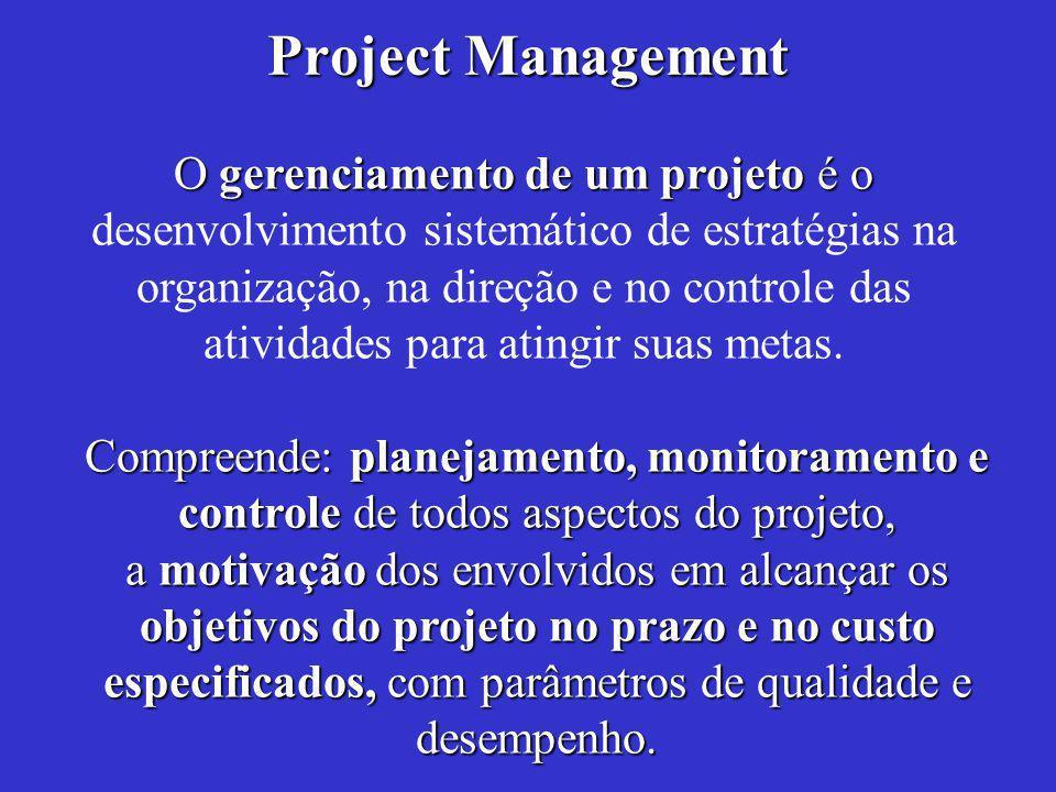 Project Management O gerenciamento de um projeto é o O gerenciamento de um projeto é o desenvolvimento sistemático de estratégias na organização, na direção e no controle das atividades para atingir suas metas.