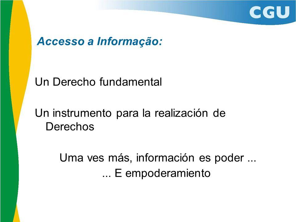 Un Derecho fundamental Un instrumento para la realización de Derechos Uma ves más, información es poder......