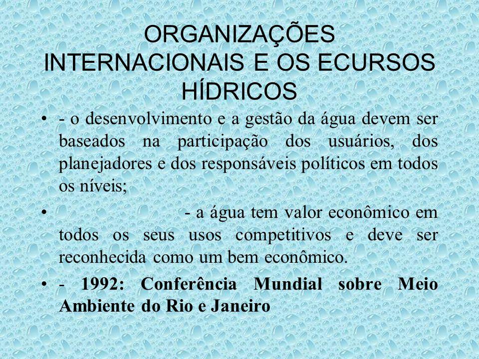 ORGANIZAÇÕES INTERNACIONAIS E OS ECURSOS HÍDRICOS - o desenvolvimento e a gestão da água devem ser baseados na participação dos usuários, dos planejad