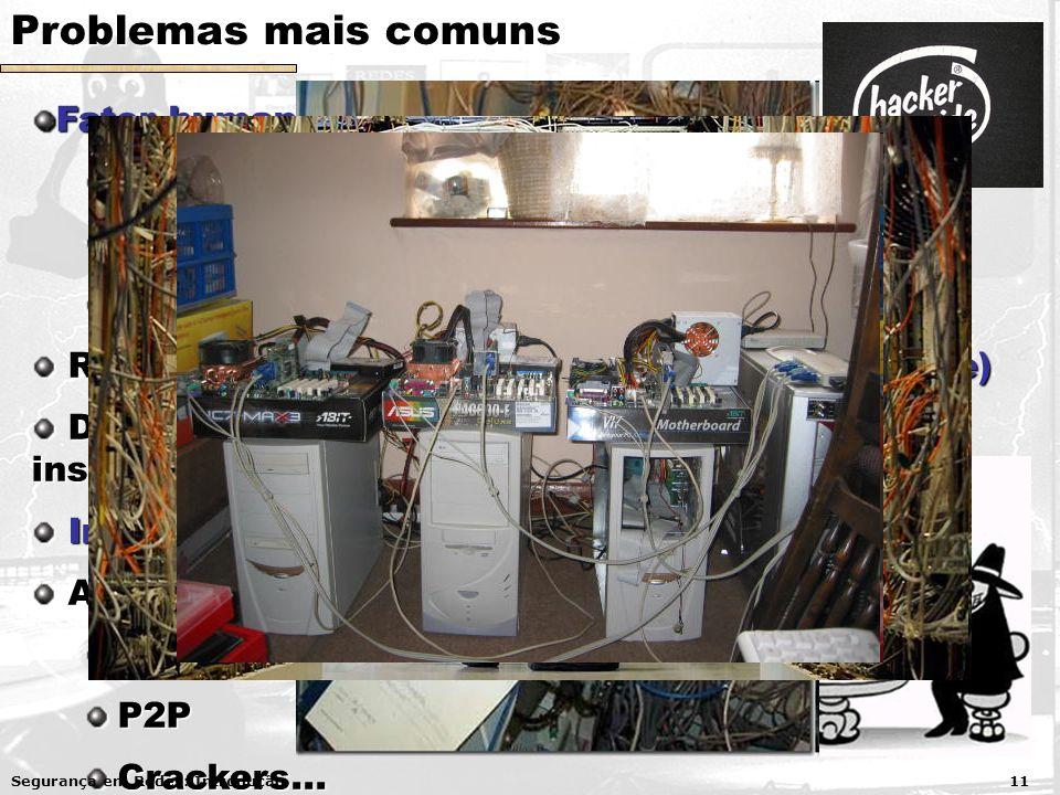 Problemas mais comuns Fator humano Usuários despreparados/maliciosos Administradores despreparados Desenvolvedores despreparados Redes e sistemas hete