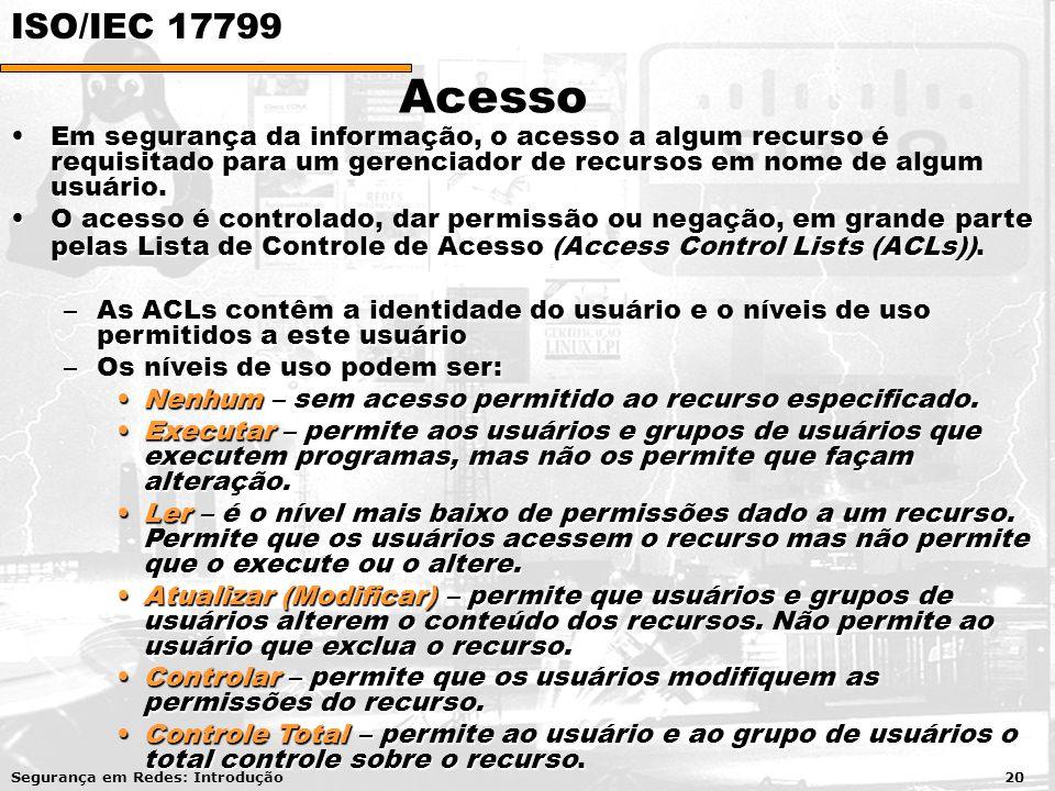 Acesso Em segurança da informação, o acesso a algum recurso é requisitado para um gerenciador de recursos em nome de algum usuário.Em segurança da inf