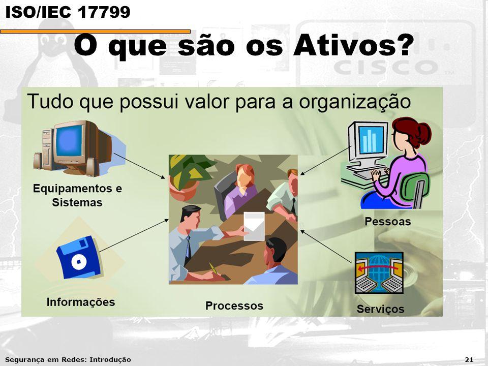 O que são os Ativos? Segurança em Redes: Introdução 21 ISO/IEC 17799