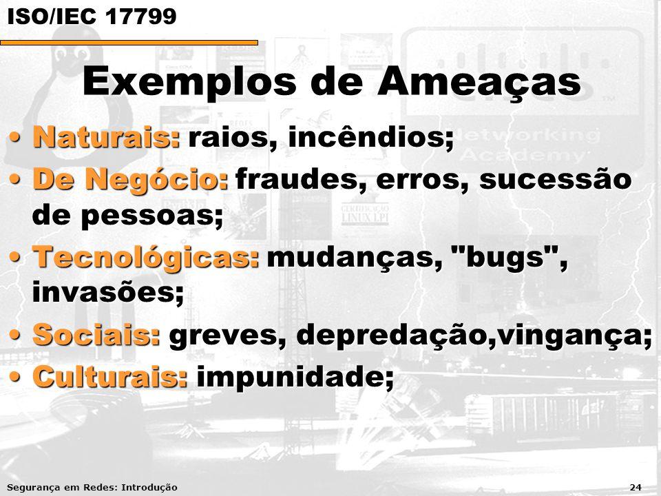 Exemplos de Ameaças Naturais: raios, incêndios;Naturais: raios, incêndios; De Negócio: fraudes, erros, sucessão de pessoas;De Negócio: fraudes, erros,