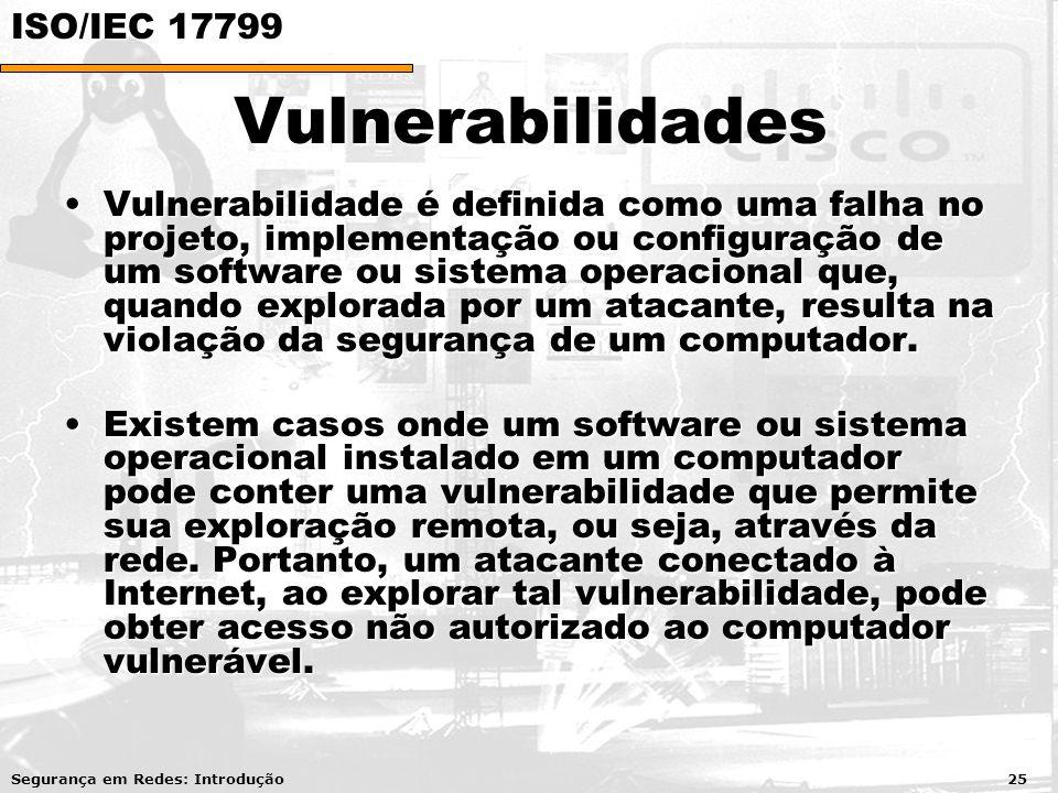 Vulnerabilidades Vulnerabilidade é definida como uma falha no projeto, implementação ou configuração de um software ou sistema operacional que, quando explorada por um atacante, resulta na violação da segurança de um computador.Vulnerabilidade é definida como uma falha no projeto, implementação ou configuração de um software ou sistema operacional que, quando explorada por um atacante, resulta na violação da segurança de um computador.