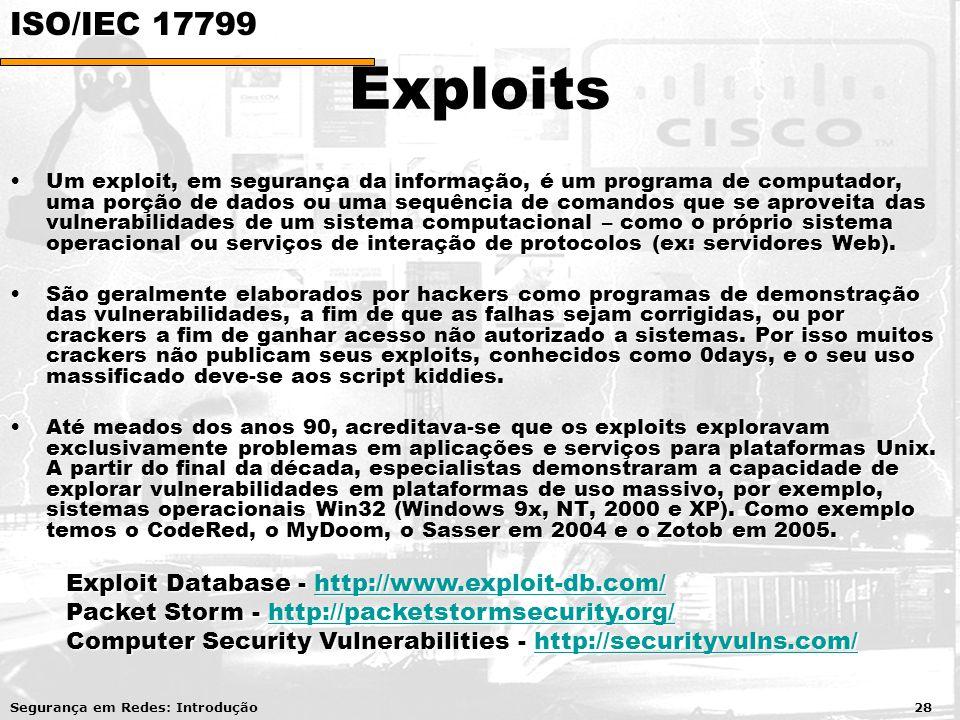 Exploits Um exploit, em segurança da informação, é um programa de computador, uma porção de dados ou uma sequência de comandos que se aproveita das vulnerabilidades de um sistema computacional – como o próprio sistema operacional ou serviços de interação de protocolos (ex: servidores Web).Um exploit, em segurança da informação, é um programa de computador, uma porção de dados ou uma sequência de comandos que se aproveita das vulnerabilidades de um sistema computacional – como o próprio sistema operacional ou serviços de interação de protocolos (ex: servidores Web).
