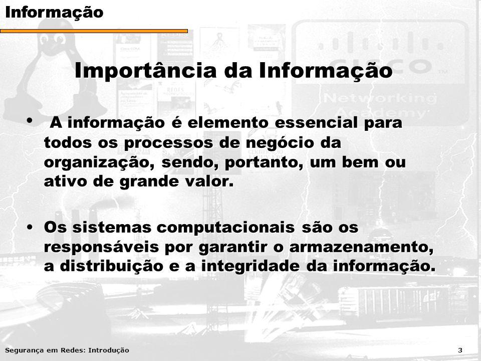 Importância da Informação A informação é elemento essencial para todos os processos de negócio da organização, sendo, portanto, um bem ou ativo de gra