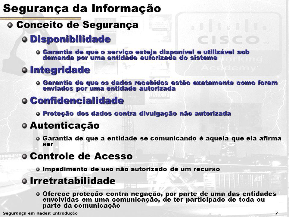 Segurança da Informação Conceito de Segurança Conceito de SegurançaDisponibilidade Garantia de que o serviço esteja disponível e utilizável sob demand