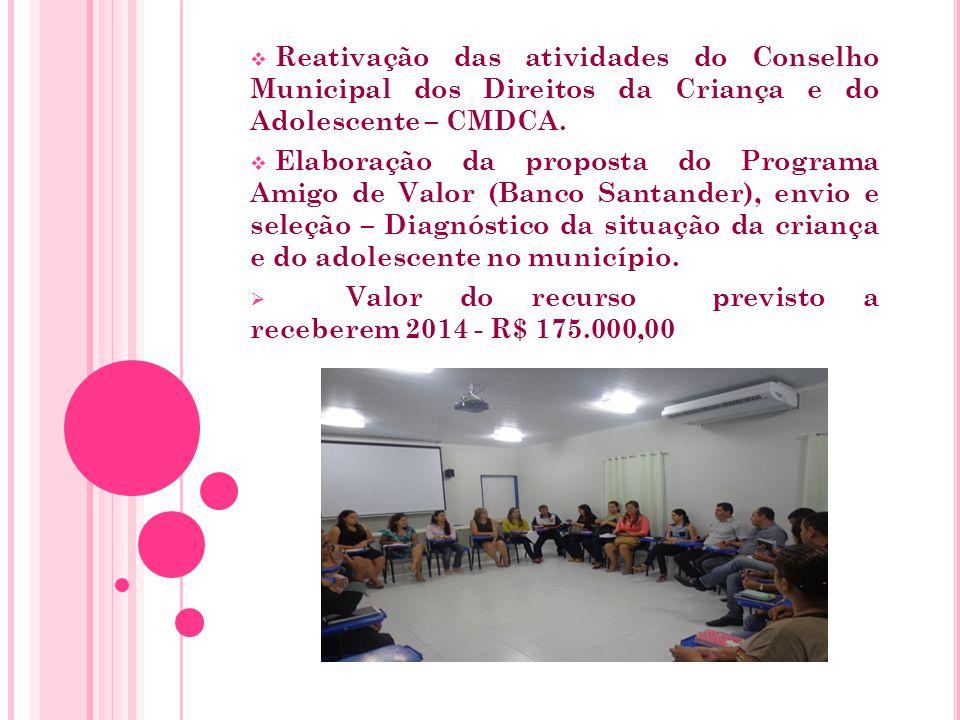  Reativação das atividades do Conselho Municipal dos Direitos da Criança e do Adolescente – CMDCA.