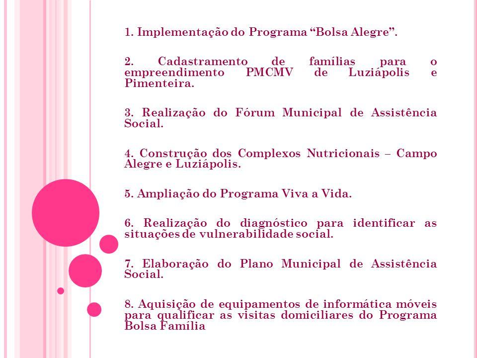 1. Implementação do Programa Bolsa Alegre . 2.