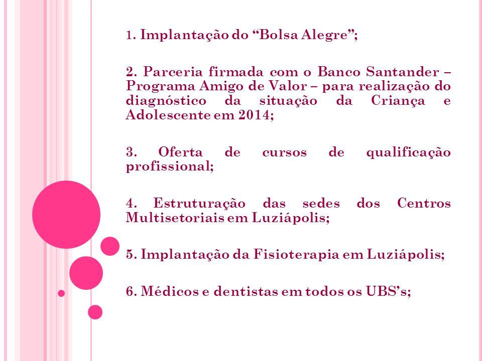 1. Implantação do Bolsa Alegre ; 2.