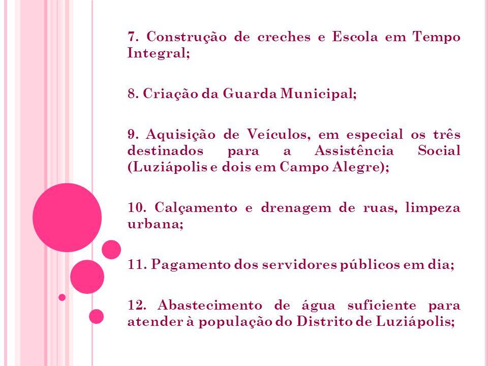 7. Construção de creches e Escola em Tempo Integral; 8.