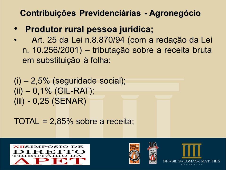 Contribuições Previdenciárias - Agronegócio Produtor rural pessoa jurídica; Produtor rural pessoa jurídica; Art. 25 da Lei n.8.870/94 (com a redação d