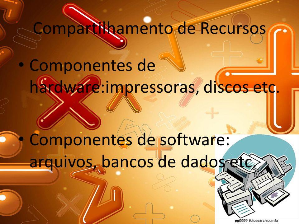 Compartilhamento de Recursos Componentes de hardware:impressoras, discos etc. Componentes de software: arquivos, bancos de dados etc.