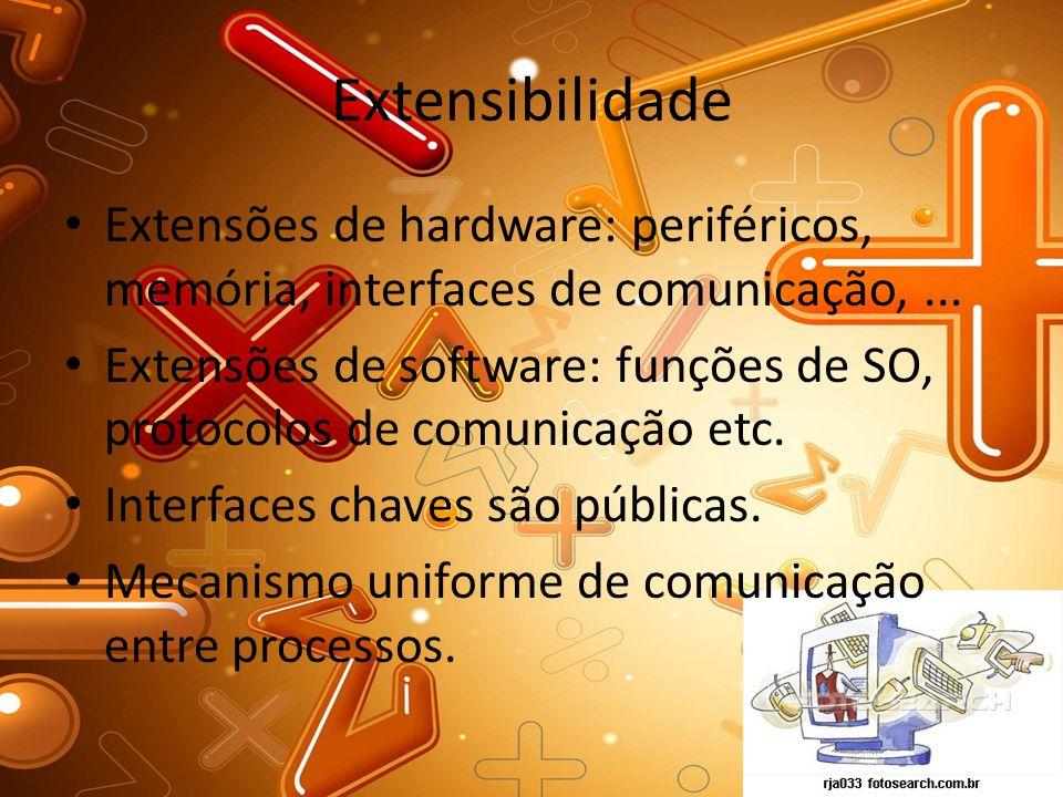 Extensibilidade Extensões de hardware: periféricos, memória, interfaces de comunicação,... Extensões de software: funções de SO, protocolos de comunic