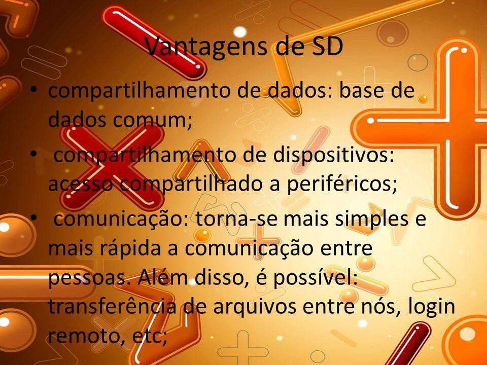 Vantagens de SD compartilhamento de dados: base de dados comum; compartilhamento de dispositivos: acesso compartilhado a periféricos; comunicação: tor