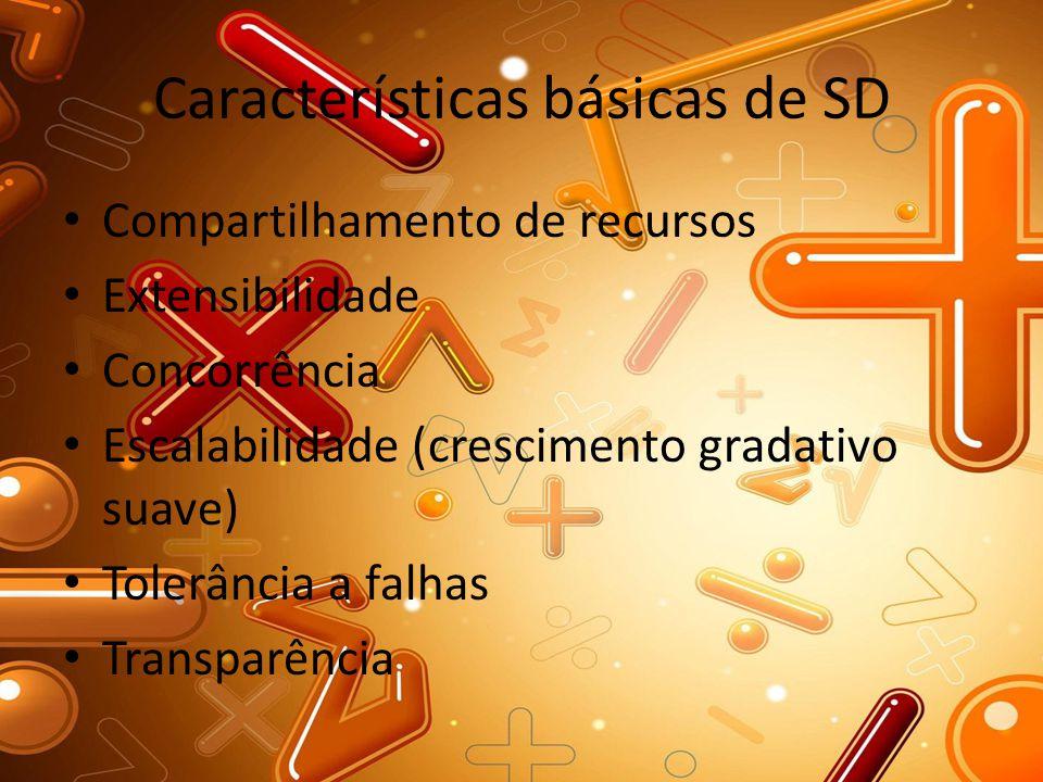 Características básicas de SD Compartilhamento de recursos Extensibilidade Concorrência Escalabilidade (crescimento gradativo suave) Tolerância a falh