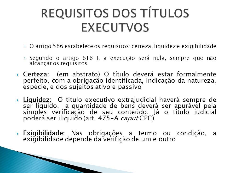 ◦ O artigo 586 estabelece os requisitos: certeza, liquidez e exigibilidade ◦ Segundo o artigo 618 I, a execução será nula, sempre que não alcançar os