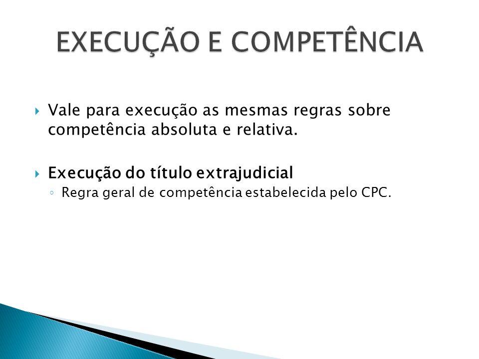  Vale para execução as mesmas regras sobre competência absoluta e relativa.  Execução do título extrajudicial ◦ Regra geral de competência estabelec
