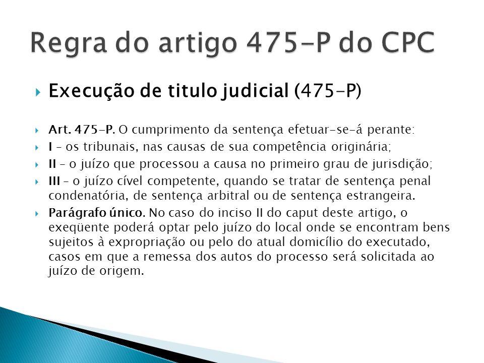 Execução de titulo judicial (475-P)  Art. 475-P. O cumprimento da sentença efetuar-se-á perante:  I – os tribunais, nas causas de sua competência
